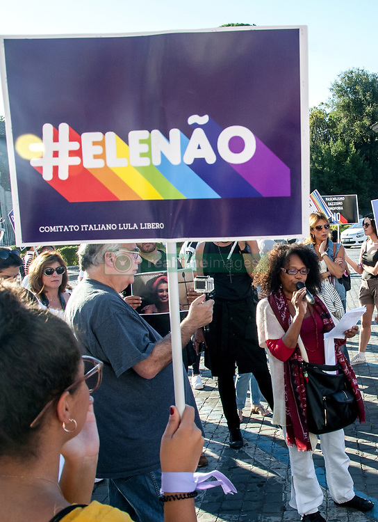 September 29, 2018 - Rome, Italy, Italy - Ele Não, Ele Nunca demonstration in Rome against the rise of the extreme right in Brazil and in any part of the world organized by the Italian Committee Lula Livre (Credit Image: © Patrizia Cortellessa/Pacific Press via ZUMA Wire)