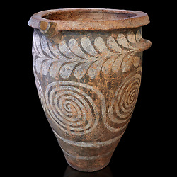 The Minoan clay burial pithos with swirl and leaf design,  Neopalatial period 1700-1450 BC; Heraklion Archaeological  Museum, black background.<br /> <br /> The body was placed in a foetal postion to aid insertion into the wide mouthed pithos