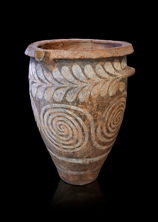 The Minoan clay burial pithos with swirl and leaf design,  Neopalatial period 1700-1450 BC; Heraklion Archaeological  Museum, black background.<br /> <br /> The body was placed in a foetal postion to aid insertion into the wide mouthed pithos .<br /> <br /> If you prefer to buy from our ALAMY PHOTO LIBRARY  Collection visit : https://www.alamy.com/portfolio/paul-williams-funkystock/minoan-art-artefacts.html . Type -   Heraklion   - into the LOWER SEARCH WITHIN GALLERY box. Refine search by adding background colour, place, museum etc<br /> <br /> Visit our MINOAN ART PHOTO COLLECTIONS for more photos to download  as wall art prints https://funkystock.photoshelter.com/gallery-collection/Ancient-Minoans-Art-Artefacts-Antiquities-Historic-Places-Pictures-Images-of/C0000ricT2SU_M9w