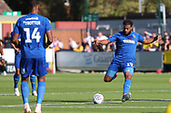 AFC Wimbledon midfielder Tom Soares (19) passing the ball during the EFL Sky Bet League 1 match between AFC Wimbledon and Oxford United at the Cherry Red Records Stadium, Kingston, England on 29 September 2018.