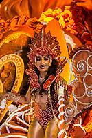 Performers on floats in the Carnaval parade of GRES Unidos do Viradouro samba school in the Sambadrome, Rio de Janeiro, Brazil.