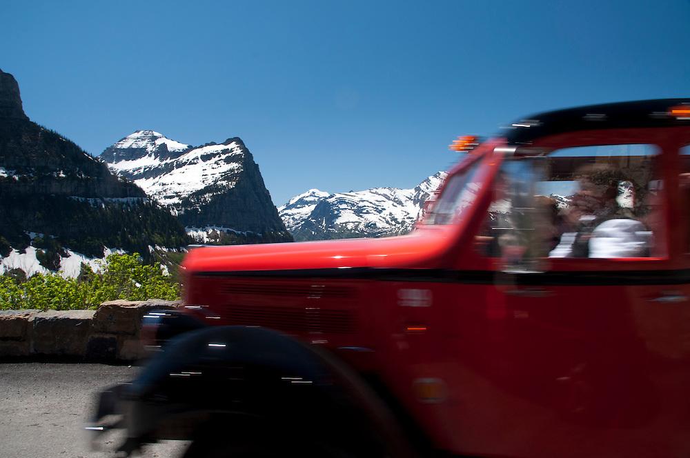 Red Bus Tour, Glacier National Park, Montana, US