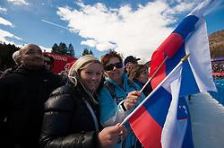 Slovenian Fans during the Men's Slalom - Pokal Vitranc 2012 of FIS Alpine Ski World Cup 2011/2012, on March 11, 2012 in Vitranc, Kranjska Gora, Slovenia.  (Photo By Vid Ponikvar / Sportida.com)
