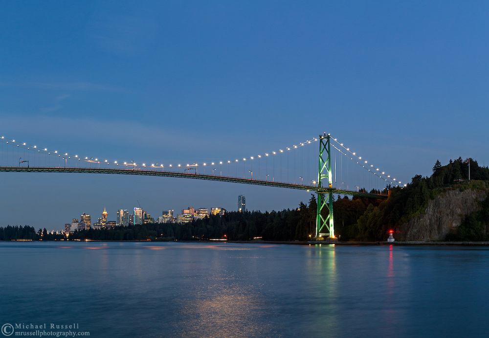 The Lions Gate or First Narrows Bridge with downtown Vancouver underneath -  in Vancouver, British Columbia, Canada