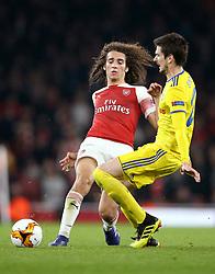 BATE Borisov's Slobodan Simovic (right) and Arsenal's Matteo Guendouzi battle for the ball