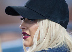 July 21, 2017 - Los Angeles, California, U.S - Christina Aguilera attends the game between the Los Angeles Dodgers and the Atlanta Braves in Dodgers Stadium in Los Angeles, California on Friday, July 21, 2017.   Dodgers lost to Braves, 3-12. Christina Aguilera at Dodgers vs Braves game. (Credit Image: © Prensa Internacional via ZUMA Wire)