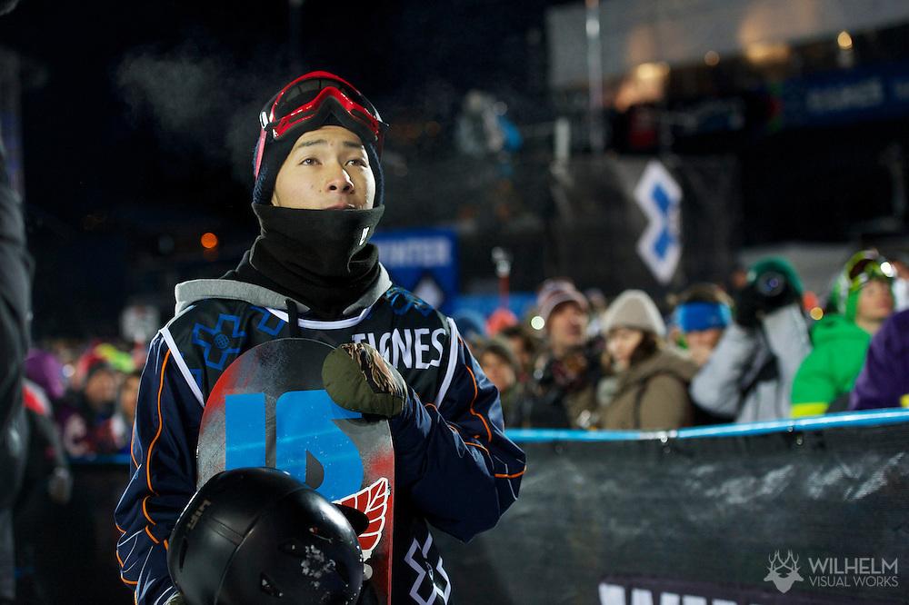 Taku Hiraoka during Men's Snowboard SuperPipe Finals at the 2013 X Games Tignes in Tignes, France. ©Brett Wilhelm/ESPN