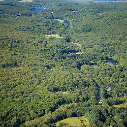 The Eight Mile River in Lyme, Connecticut.  Aerial.  Connecticut River tributary.