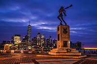 Katyn Memorial at Exchange Place in Jersey City with Lower Manhattan in Background