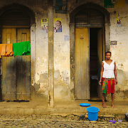 Daily life around the streets of the sanzalas (workers quarters) of roça Água Izé.