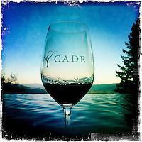 25 February 2012: Cade winery glass in Howell Mountain, Napa, California.  iPhone Stock Photo
