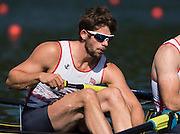 Lucerne, SWITZERLAND. GBR M4- Tom RANSLEY,heat of the men's four, 2015 FISA World Cup III, Lake Rotsee,  08:39:17  Friday  10/07/2015   [Mandatory Credit. Peter SPURRIER/Intersport Images.