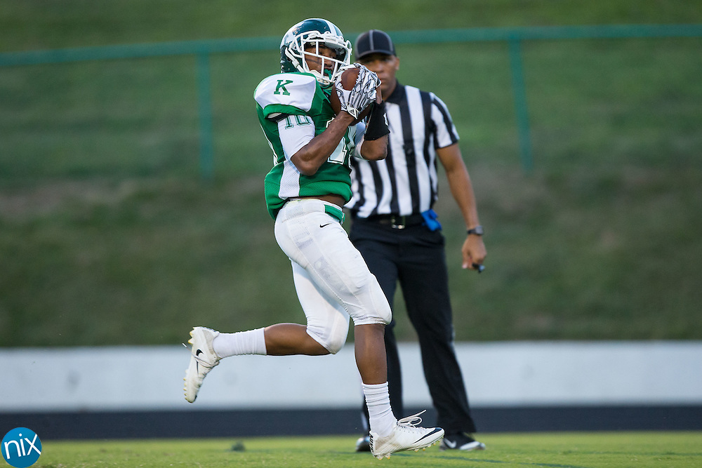 Shymere Scott (10) of the A.L. Brown Wonders hauls in a long pass for a touchdown during first half action against the Northwest Cabarrus Trojans at A.L. Brown High School on September 5, 2016 in Kannapolis, North Carolina.  The Wonders defeated the Trojans 48-0.  (Brian Westerholt/Special to the Tribune)