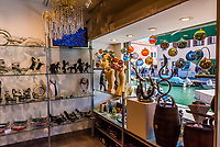 A glass shop on Murano. Murano is a series of islands linked by bridges in the Venetian Lagoon,  Venice, Italy.