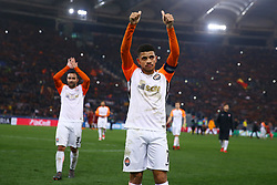 March 13, 2018 - Rome, Italy - AS Roma v FC Shakhtar Donetsk : UEFA Champions League Round of 16 Second leg..Taison of Shakhtar Donetsk greeting the supporters at Olimpico Stadium in Rome, Italy on March 13, 2018. (Credit Image: © Matteo Ciambelli/NurPhoto via ZUMA Press)