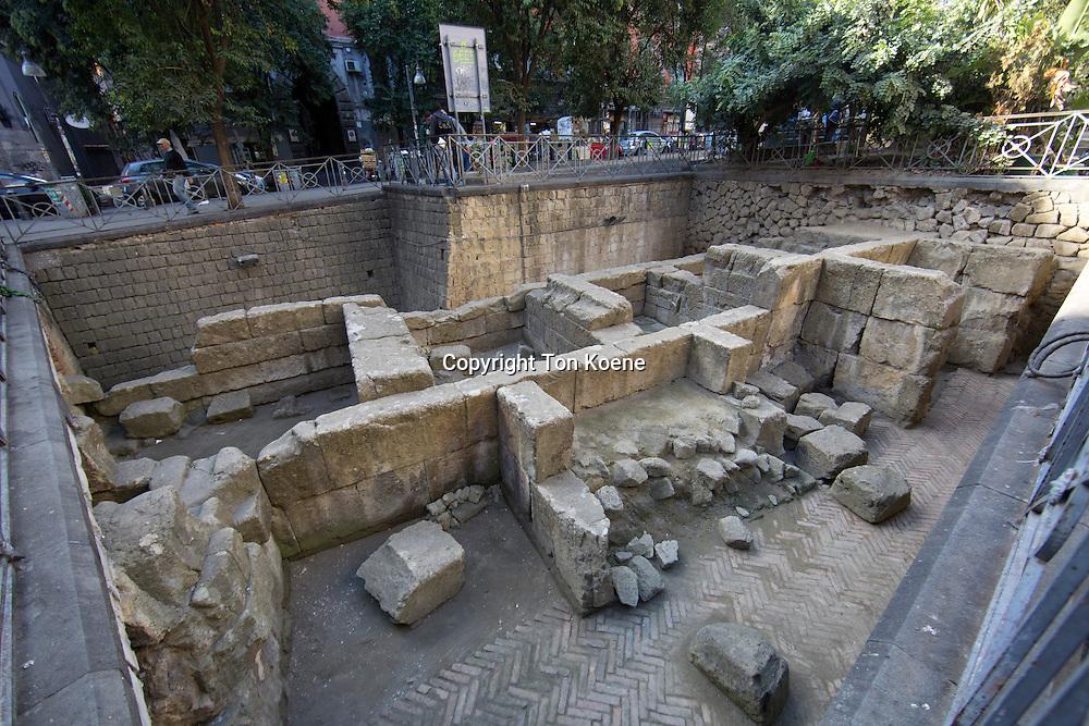 ancient roman excavation site in naples, Italy