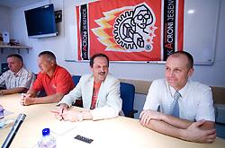 Tomaz Tom Mencinger, Ildar Rahmatullin, Zvone Suvak and Slavko Kanalec at press conference of HK Acroni Jesenice before new season 2009/2010, on July 23 2009, in Jesenice, Slovenia. (Photo by Vid Ponikvar / Sportida)