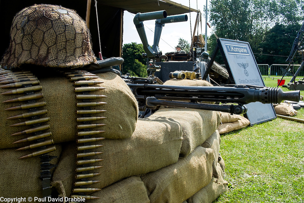 Cleethorpes 2015 2nd MG42 behind sand bags mounted on Lafayette Tripod in the heavy machine gun role <br /> <br /> August 2015<br />  Image © Paul David Drabble <br />  www.pauldaviddrabble.co.uk