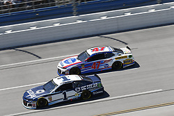 April 29, 2018 - Talladega, Alabama, United States of America - Jamie McMurray (1)  battles side by side down the front stretch for position during the GEICO 500 at Talladega Superspeedway in Talladega, Alabama. (Credit Image: © Justin R. Noe Asp Inc/ASP via ZUMA Wire)