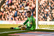 Portsmouth Goalkeeper, Craig MacGillivray (15) keeps the ball in during the EFL Sky Bet League 1 match between Portsmouth and Barnsley at Fratton Park, Portsmouth, England on 23 February 2019.