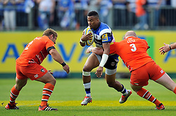 Anthony Watson of Bath Rugby takes on the Leicester Tigers defence - Photo mandatory by-line: Patrick Khachfe/JMP - Mobile: 07966 386802 23/05/2015 - SPORT - RUGBY UNION - Bath - The Recreation Ground - Bath Rugby v Leicester Tigers - Aviva Premiership Semi-Final