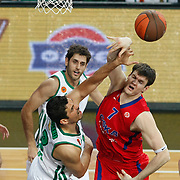 CSKA Moscow's Darjus Lavrinovic (R) during their Euroleague Final Four semi final Game 1 basketball match CSKA Moscow's between Panathinaikos at the Sinan Erdem Arena in Istanbul at Turkey on Friday, May, 11, 2012. Photo by TURKPIX