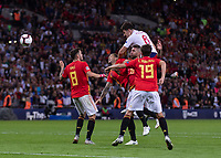 Football - 2018 / 2019 UEFA Nations League A - Group Four: England vs. Spain<br /> <br /> Harry Maguire (England) rises above the Spanish defence to head the ball at Wembley Stadium.<br /> <br /> COLORSPORT/DANIEL BEARHAM