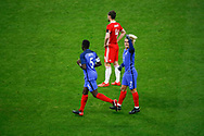 Antoine Griezmann (FRA) scored the first goal and celebrated it, Ben Davies (WAL), Samuel Umtiti (FRA) during the 2017 Friendly Game football match between France and Wales on November 10, 2017 at Stade de France in Saint-Denis, France - Photo Stephane Allaman / ProSportsImages / DPPI