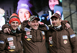 Jaka Hvala, Goran Janus and Gorazd Bertoncelj during reception of Slovenian Winter sports Athletes after success at World Championships, on March 19, 2012 in Kongresni trg, Ljubljana, Slovenia. (Photo by Vid Ponikvar / Sportida.com)