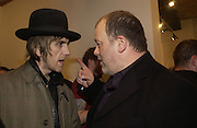 Pete Woolf and Danny Clifford, Babyshambles Exhibition , Photographs by Danny Clifford <br />The Old Sony Ericsson Proud Galleries, Greenland St. Camden, London  5 December  2005. ONE TIME USE ONLY - DO NOT ARCHIVE  © Copyright Photograph by Dafydd Jones 66 Stockwell Park Rd. London SW9 0DA Tel 020 7733 0108 www.dafjones.com