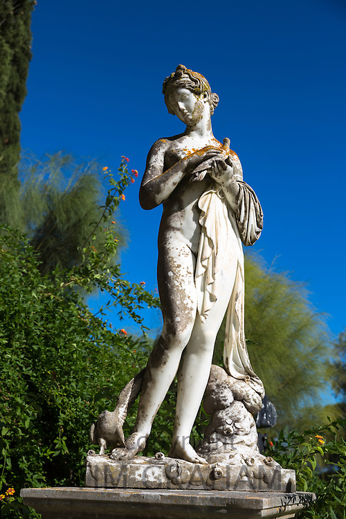 Stone statue at Achilleion Palace, Museo Achilleio, in Corfu, Greece