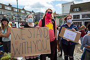 Members of Kent Anti Racism Network gathered today in Dover, Kent to stand in solidarity with those fleeing war, poverty and persecution making the extremely dangerous crossing to seek sanctuary in the UK. 5th September 2020, Dover, Kent.  After the tragic death of a 16 year old Sudanese boy in the English Channel residents of Kent decided it was time to make a stand. There have been countless deaths at sea because of Fortress Europe and callous government policies that only seek to divide us.