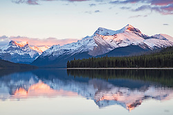 Malingne Lake Sunset, Jasper National Park, Alberta, Canada