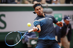 May 28, 2019 - Paris, France - Fabio Fognini of Italy serves during his mens singles first round match against Andreas Seppi of Italy during Day three of the 2019 French Open at Roland Garros on May 28, 2019 in Paris, France. (Credit Image: © Mehdi Taamallah/NurPhoto via ZUMA Press)