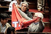 20161019/ Javier Calvelo - adhocFOTOS/ URUGUAY/ MONTEVIDEO/ Palacio Legislativo - Cámara de Dipitados - Asamblea General/ En el 50 aniversario de la unificación del movimiento sindical, el PIT-CNT se realizó por parte de la Asamblea General Legislativa un homenaje al Pit-Cnt por parte de todos los partidos políticos y presencia de dirigentes sindicales en las barras.<br /> En la foto:  Oscar Groba durante el homenaje a la central sindical PIT-CNT en Asamblea General del Palacio Legislativo. Foto: Javier Calvelo/ adhocFOTOS