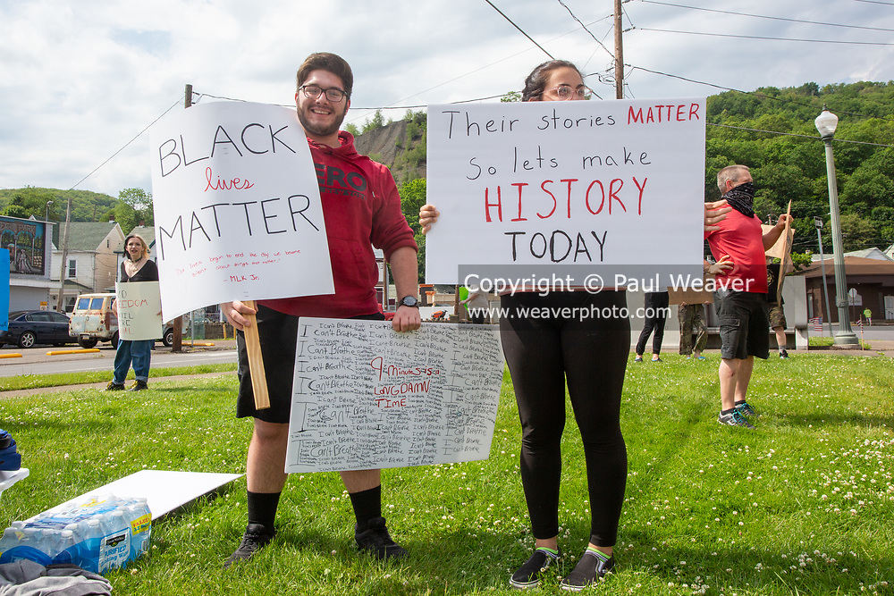 About 30 people gathered at Market and Independence Streets in Shamokin, PA to protest police violence and racism.