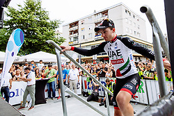 Simone Consonni of UAE at the ceremony after 1st Stage of 25th Tour de Slovenie 2018 cycling race between Lendava and Murska Sobota (159 km), on June 13, 2018 in  Slovenia. Photo by Matic Klansek Velej / Sportida