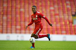 LIVERPOOL, ENGLAND - Wednesday, August 17, 2011: Liverpool's Andre Wisdom in action against Sporting Clube de Portugal during the first NextGen Series Group 2 match at Anfield. (Pic by David Rawcliffe/Propaganda)