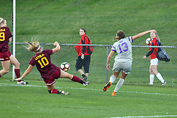 04 November 2016: Ashley Bovee(10)  during an NCAA Missouri Valley Conference (MVC) Championship series women's semi-final soccer game between the Loyola Ramblers and the Evansville Purple Aces on Adelaide Street Field in Normal IL