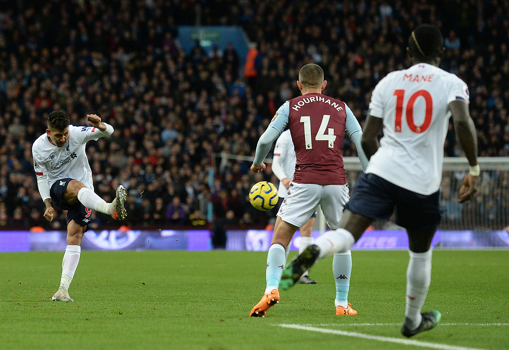 Liverpool's Roberto Firmino whips the ball into the box <br /> <br /> Photographer Ian Cook/CameraSport<br /> <br /> The Premier League - Aston Villa v Liverpool - Saturday 2nd November 2019 - Villa Park - Birmingham<br /> <br /> World Copyright © 2019 CameraSport. All rights reserved. 43 Linden Ave. Countesthorpe. Leicester. England. LE8 5PG - Tel: +44 (0) 116 277 4147 - admin@camerasport.com - www.camerasport.com