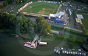 Harrisburg city Island, Paddle Wheel Boat Dock, Baseball Park, Susquehanna River, Aerial