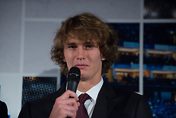 November 9, 2017 - London, England, United Kingdom - Alexander Zverev of Germany talks at The Official Launch for ATP Finals held at the Tower of London prior to the start of ATP World Tour Finals Tennis at O2 Arena, London on November 9, 2017. (Credit Image: © Alberto Pezzali/NurPhoto via ZUMA Press)