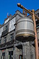 The street lights on the restored Qianmen street have taken on the form of traditonal chinese birdcages.