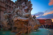 The Fountain of the Four Rivers on Rome's Piazza Navona