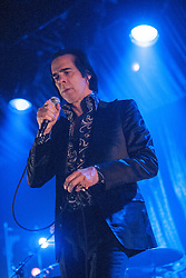 Frontman Nick Cave, of Nick Cave and the Bad Seeds, performing on stage at The Barrowlands, Glasgow, Scotland.<br /> ©Michael Schofield.