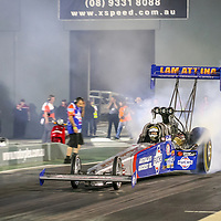 Darren Morgan driving the Lamattina Racing Top Fuel Dragster at the Perth Motorplex's Top Fuel Challenge in November 2005