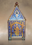 Medieval enamelled tabernacle depicting Christ in majesty, circa 1200 AD from Limoges, enamel on gold. AD. Inv OA 8984, The Louvre Museum, Paris. .<br /> <br /> If you prefer you can also buy from our ALAMY PHOTO LIBRARY Collection visit : https://www.alamy.com/portfolio/paul-williams-funkystock/limoges-enamel-antiquities.html Type - louvre - into the LOWER SEARCH WITHIN GALLERY box. <br /> <br /> Visit our MEDIEVAL ART PHOTO COLLECTIONS for more photos to download or buy as prints https://funkystock.photoshelter.com/gallery-collection/Medieval-Gothic-Art-Antiquities-Historic-Sites-Pictures-Images-of/C0000gZ8POl_DCqE