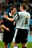Photo: Ed Godden.<br />Coventry City v Derby County. Coca Cola Championship. 11/11/2006. Derby's Steve Howard disagrees with the Referee Mr L. Probert.