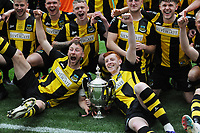 Football - 2019 / 2020 Buildbase FA Vase - Final - Consett vs Hebburn Town - Wembley Stadium<br /> <br /> Captain Louis Storey (left) and 'Man  of  the match' Michael Richardson of Hebburn lead the celebrations<br /> <br /> Credit : COLORSPORT/ANDREW COWIE