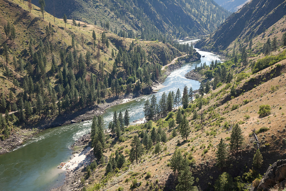 Rafters camped along the Salmon River on a multi-day trip in central Idaho.
